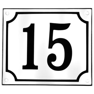 Emaljskylt 15 vit - svart 14 x 12 cm modell 10