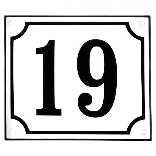 Emaljskylt 19 vit - svart 14 x 12 cm modell 10