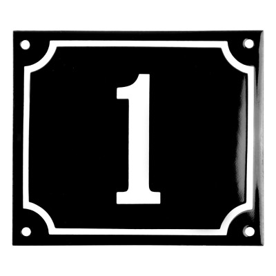 Enamel sign 1 black - white 14 x 12 cm model 12
