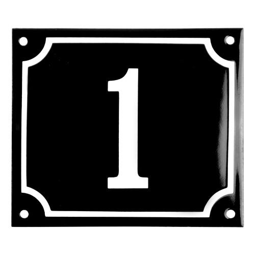 Emaljskylt 1 svart - vit 14 x 12 cm modell 12