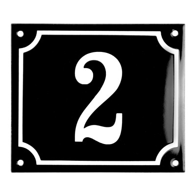 Enamel sign 2 black - white 14 x 12 cm model 12
