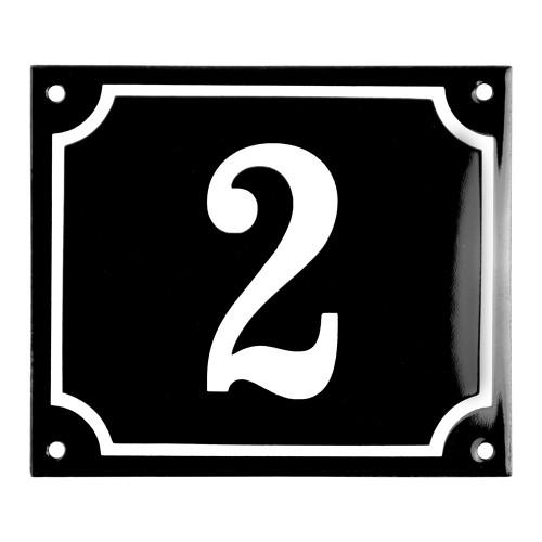 Emaljskylt 2 svart - vit 14 x 12 cm modell 12