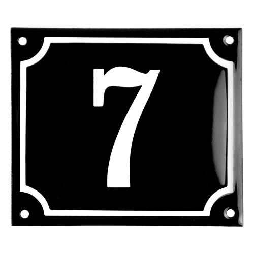 Emaljskylt 7 svart - vit 14 x 12 cm modell 12