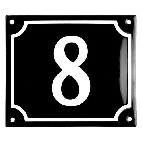 Emaljskylt 8 svart - vit 14 x 12 cm modell 12