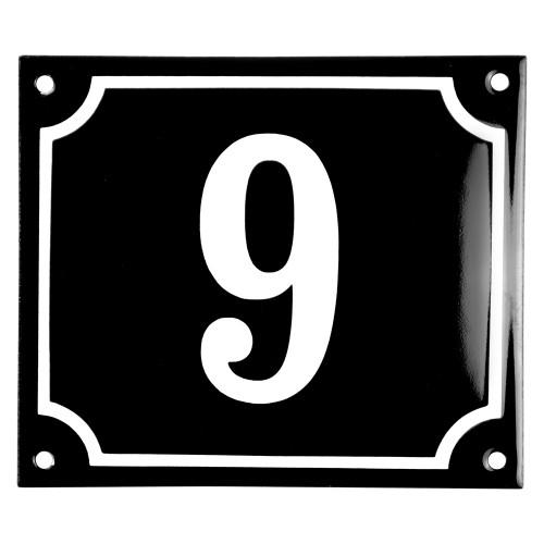 Emaljskylt 9 svart - vit 14 x 12 cm modell 12