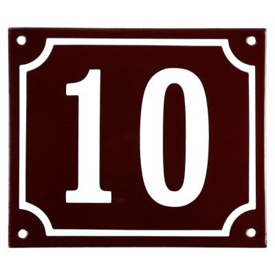 Emaljskylt 10 röd - vit 14 x 12 cm modell 16