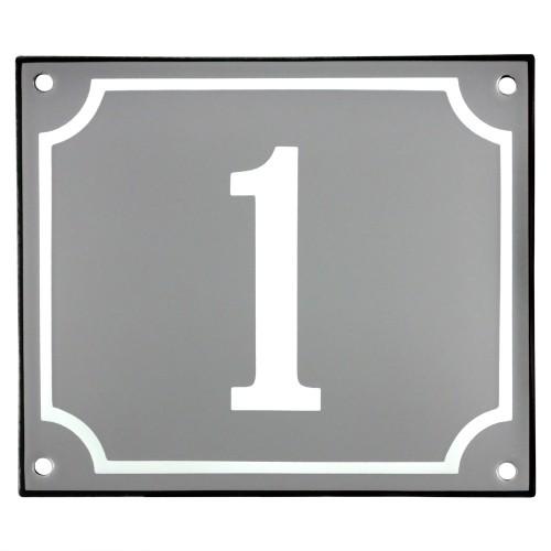 Emaljskylt 1 grå - vit 14 x 12 cm modell 18