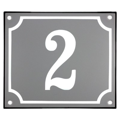 Emaljskylt 2 grå - vit 14 x 12 cm modell 18