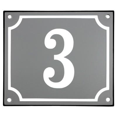 Emaljskylt 3 grå - vit 14 x 12 cm modell 18