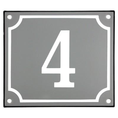 Emaljskylt 4 grå - vit 14 x 12 cm modell 18