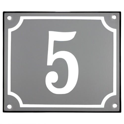 Emaljskylt 5 grå - vit 14 x 12 cm modell 18