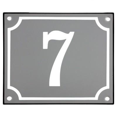 Emaljskylt 7 grå - vit 14 x 12 cm modell 18