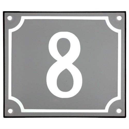 Emaljskylt 8 grå - vit 14 x 12 cm modell 18