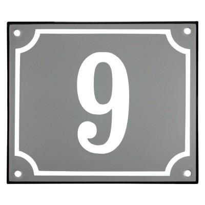 Emaljskylt 9 grå - vit 14 x 12 cm modell 18