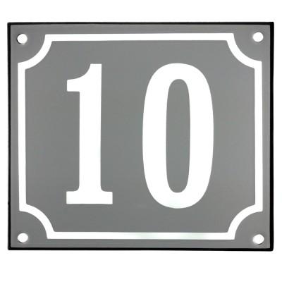 Emaljskylt 10 grå - vit 14 x 12 cm modell 18