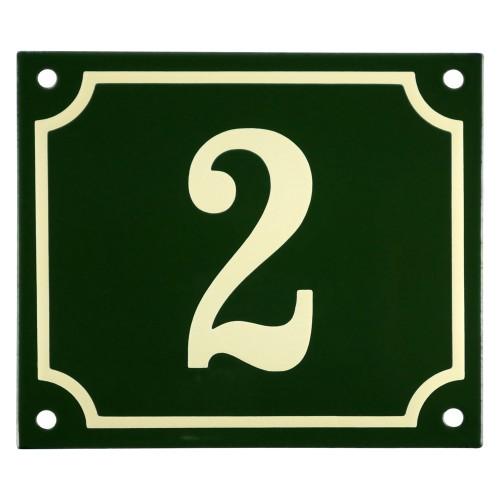 Emaljskylt 2 grön - cream 14 x 12 cm modell 17