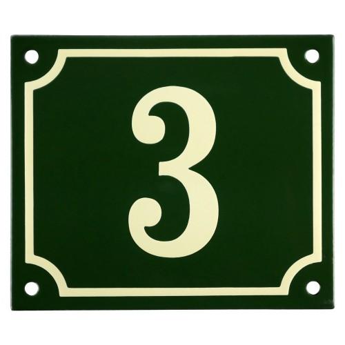 Emaljskylt 3 grön - cream 14 x 12 cm modell 17