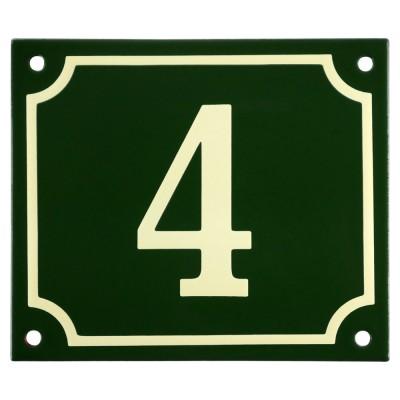 Emaljskylt 4 grön - cream 14 x 12 cm modell 17