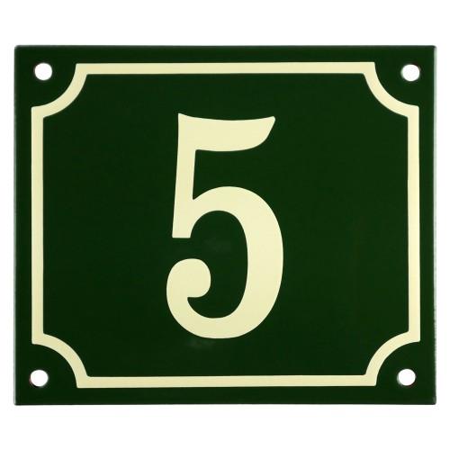Emaljskylt 5 grön - cream 14 x 12 cm modell 17