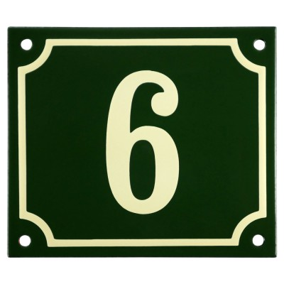 Emaljskylt 6 grön - cream 14 x 12 cm modell 17