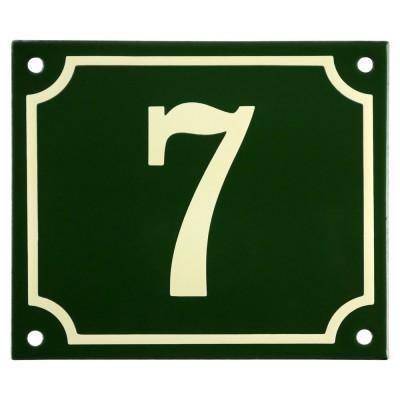 Emaljskylt 7 grön - cream 14 x 12 cm modell 17
