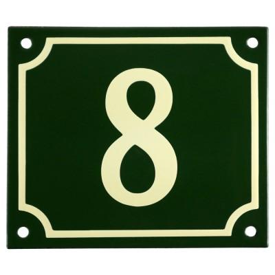 Emaljskylt 8 grön - cream 14 x 12 cm modell 17