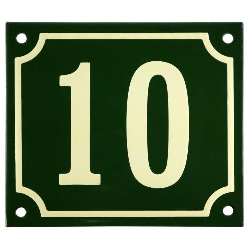 Emaljskylt 10 grön - cream 14 x 12 cm modell 17