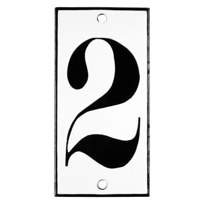 Emaljskylt 2 vit - svart 5 x 10 cm modell 13