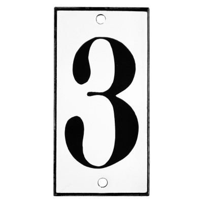 Emaljskylt 3 vit - svart 5 x 10 cm modell 13
