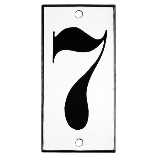 Emaljskylt 7 vit - svart 5 x 10 cm modell 13