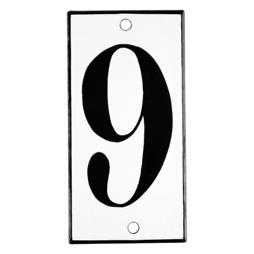 Emaljskylt 9 vit - svart 5 x 10 cm modell 13