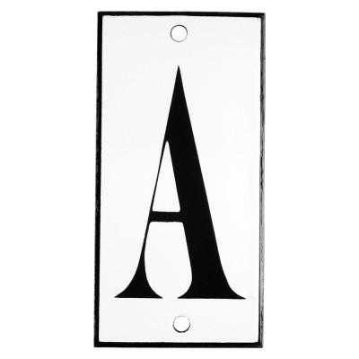 Emaljskylt A vit - svart 5 x 10 cm modell 13