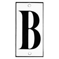 Emaljskylt B vit - svart 5 x 10 cm modell 13