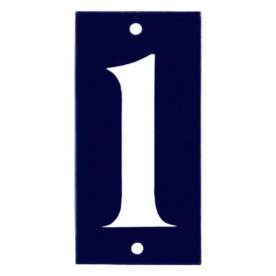 Emaljskylt 1 blå - vit 5 x 10 cm modell 14