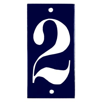 Emaljskylt 2 blå - vit 5 x 10 cm modell 14
