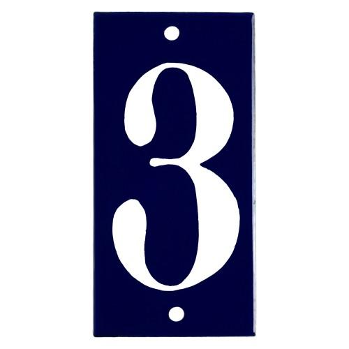 Emaljskylt 3 blå - vit 5 x 10 cm modell 14