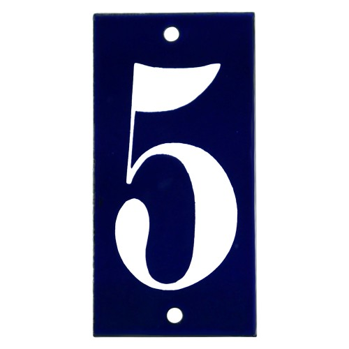 Emaljskylt 5 blå - vit 5 x 10 cm modell 14