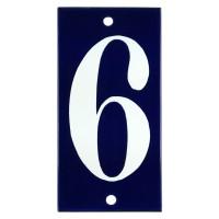 Emaljskylt 6 blå - vit 5 x 10 cm modell 14