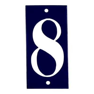 Emaljskylt 8 blå - vit 5 x 10 cm modell 14