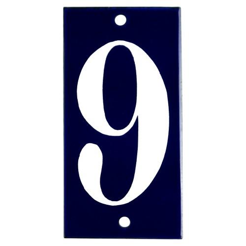 Emaljskylt 9 blå - vit 5 x 10 cm modell 14