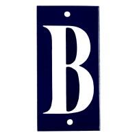 Emaljskylt B blå - vit 5 x 10 cm modell 14