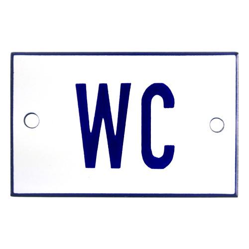 Emaljskylt WC vit - blå 8 x 5 cm modell 1