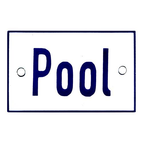 Emaljskylt Pool vit - blå 8 x 5 cm modell 1