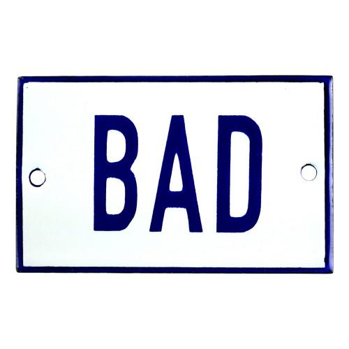 Emaljskylt BAD vit - blå 8 x 5 cm modell 1