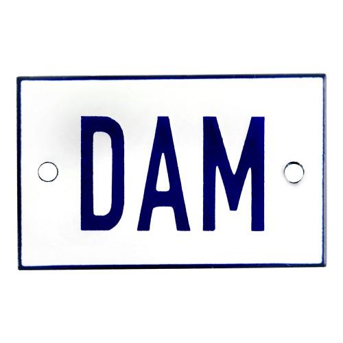 Emaljskylt DAM vit - blå 8 x 5 cm modell 1