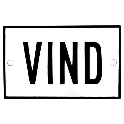 Emaljskylt VIND vit - svart 8 x 5 cm modell 2