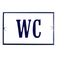Enamel sign WC white - blue 8 x 5 cm model 3