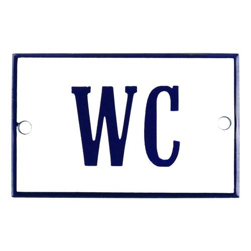 Emaljskylt WC vit - blå 8 x 5 cm modell 3