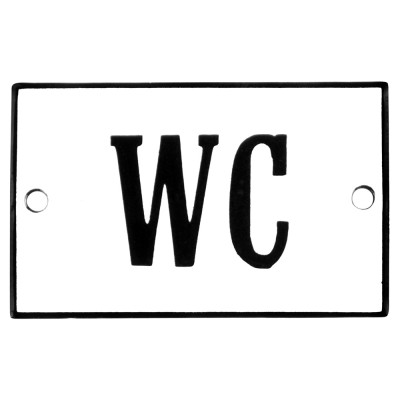 Emaljskylt WC vit - svart 8 x 5 cm modell 4