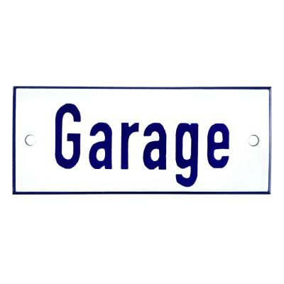 Emaljskylt Garage vit - blå 12 x 5 cm modell 1